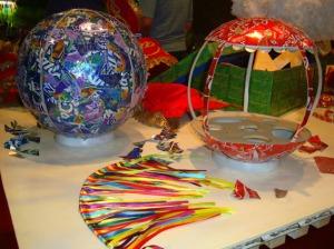 bolas decorativas com latinhas de aluminio
