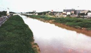 Rio Tietê em 1997, quando ainda tinha margens verdes