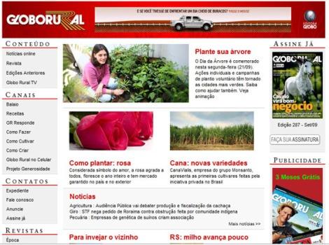 Matéria Dia da Árvore - site do Globo Rural