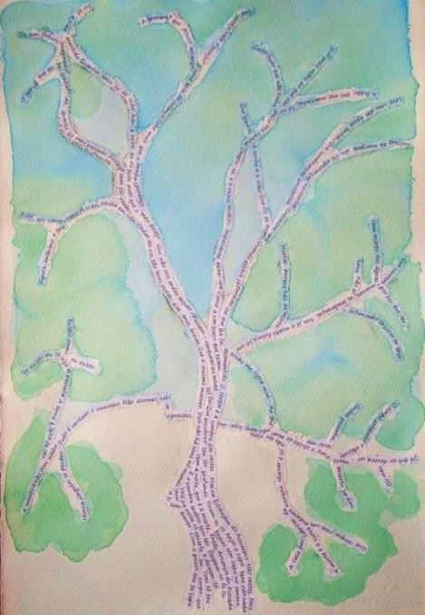 AROEIRA - pintura em aquarela com poema de Fernando Pessoa - por Claudia Fini Martins