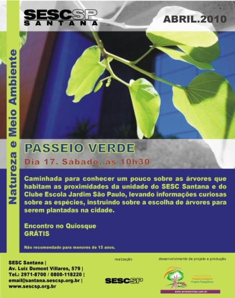 FLAYER PASSEIO VERDE - SESC SANTANA - ÁRVORES VIVAS