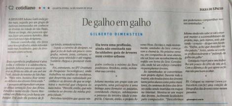 caderno cotidiano - Folha de S.Paulo - dia 16 de junho de 2010 - De galho em galho - por Gilberto Dimentein