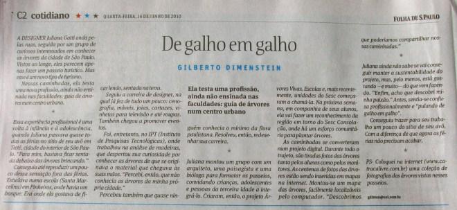 caderno cotidiano - Folha de S.Paulo - dia 16 de junho de 2010 - De galho em galho - por Gilberto Dimenstein